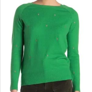 GOOD LUCK GEM KELLY GREEN EMBROIDERED SWEATER